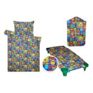 óvodai textil szett ágyneművel, fektető lepedővel és vállfás ovis ruhazsákkal szörnyecskés mintával