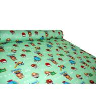 Gyerek mintás kevert szálas méteráru magasabb pamut tartalommal - 1081 zöld baglyos