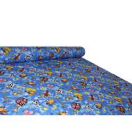Gyerek mintás kevert szálas méteráru magasabb pamut tartalommal - 880 blue farmos