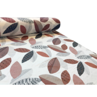 pamut-szatén méteráru 145 cm sateen 3 barna leveles