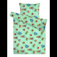 Gyermek ágynemű huzat garnitúra magasabb pamuttartalommal zöld baglyos