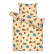 Gyermek ágynemű huzat garnitúra magasabb pamuttartalommal sárga baglyos
