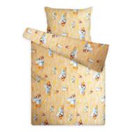 Gyerek ágynemű huzat garnitúra sárga-bézs kacsás mintával