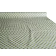 """Viaszos vászon - letörölhető asztalterítő alapanyag """"kivi-fehér kockás"""""""