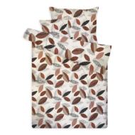 Pamut szatén ágynemű huzat garnitúra cipzárral leveles bézs