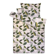 Pamut szatén ágynemű huzat garnitúra cipzárral leveles zöld