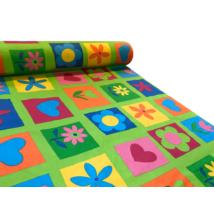 Nyomott mintás vászon magasabb pamuttartalommal - 1123 zöld virágos