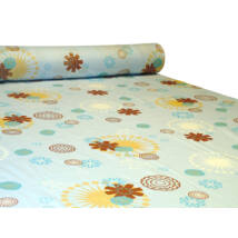 Pamut vászon nyomott mintával absztrakt virágos PT-006 blue