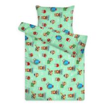 Gyerek ágynemű huzat garnitúra zöld baglyos mintával