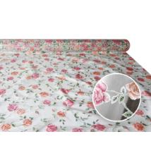 """Viaszos vászon - letörölhető asztalterítő alapanyag """"Rózsás átlátszó"""""""