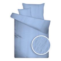Krepp ágynemű huzat garnitúra széles kreppeléssel kék színben