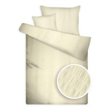 Krepp ágynemű huzat garnitúra széles kreppeléssel vaj színben