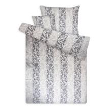 Pamut szatén ágynemű huzat garnitúra cipzárral barokkos szürke-ezüst