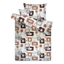 Pamut szatén ágynemű huzat garnitúra cipzárral barna-bézs keretes