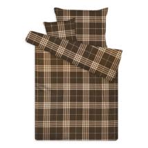Pamut szatén ágynemű huzat garnitúra cipzárral kockás barna