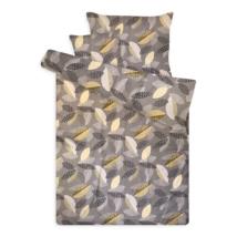 Pamut szatén ágynemű huzat garnitúra cipzárral leveles szürke