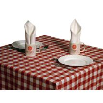 Tarkán szőtt szennytaszító asztalterítő piros-fehér kockás