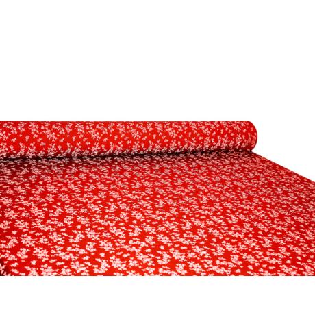 Csilla 100% pamut 270g/m2 150 cm kisvirágos piros