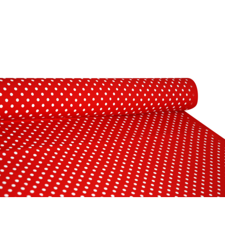 Csilla 100% pamut 270g/m2 150 cm piros pöttyös