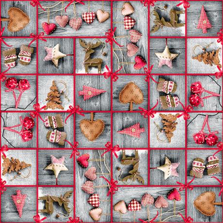 Karácsonyi méteráru 140 cm szivecskés patchwork