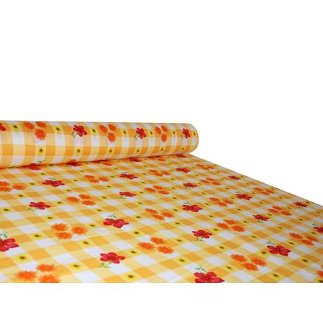 Nyomott mintás pamut-poliészter méteráru - 739 orange