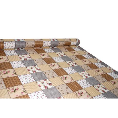 Nyomott mintás pamut-poliészter méteráru - 1094 brown
