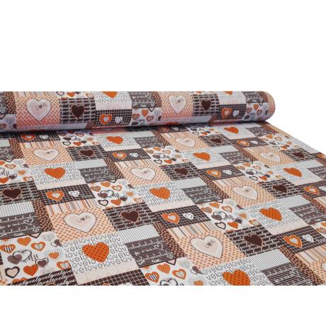 Nyomott mintás pamut-poliészter méteráru - 1113 orange