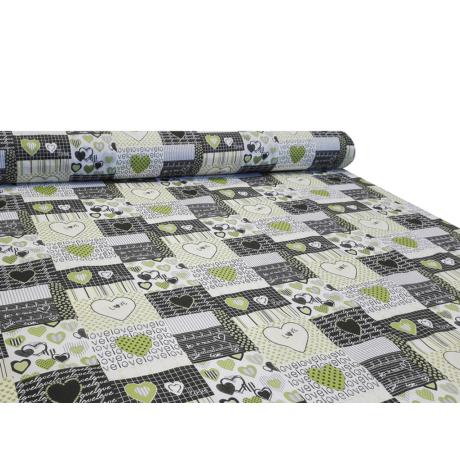 Nyomott mintás pamut-poliészter méteráru - 1113 green