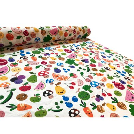 Nyomott mintás pamut-poliészter méteráru - 1133 gyümölcsös