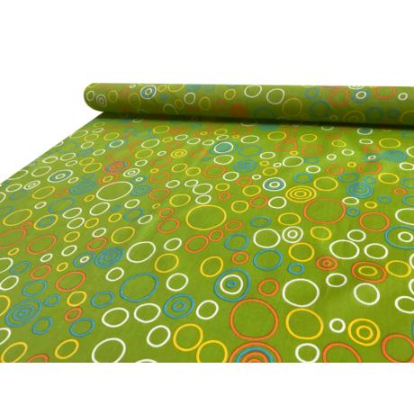 Nyomott mintás pamut-poliészter méteráru - 1142 zöld karikás