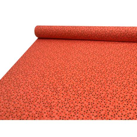 Nyomott mintás pamut-poliészter méteráru - 876 narancs kisvirágos