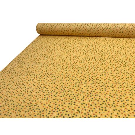Nyomott mintás pamut-poliészter méteráru - 876 sárga kisvirágos