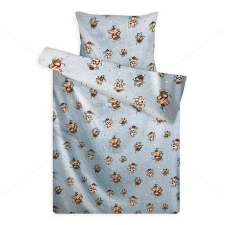 gyerek flanel ágynemű elefántos kék