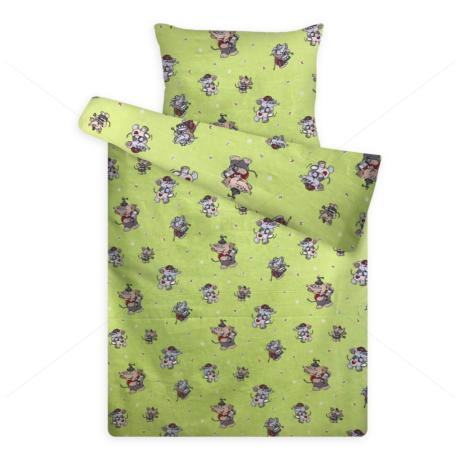 gyerek flanel ágynemű elefántos zöld