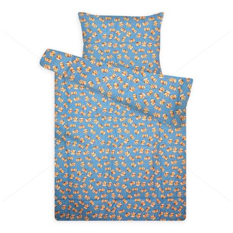 gyerek flanel ágynemű kiskutyás kék