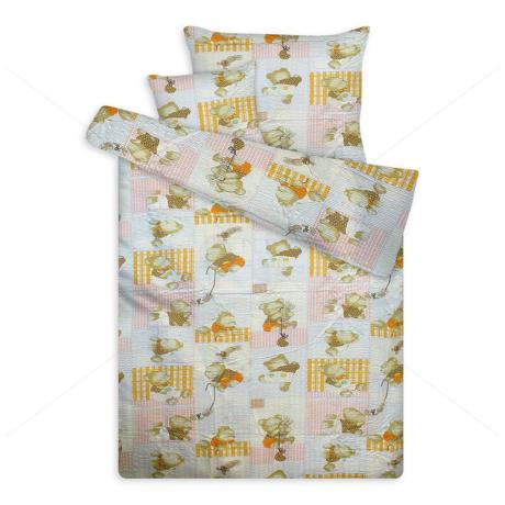 Krepp ágynemű huzat patchwork macis