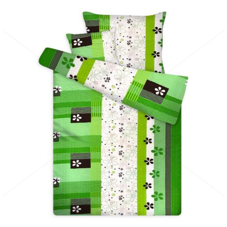 Öko krepp ágynemű virágos zöld