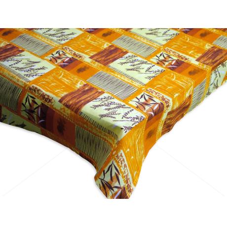 Asztalterítő nyomott mintával 140x140 cm kalászos narancs