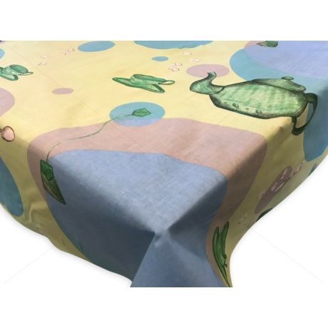 Asztalterítő nyomott mintával 140x140 cm teás kancsós zöld