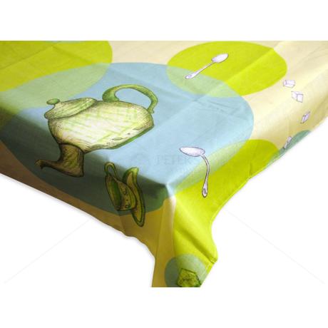 Asztalterítő nyomott mintával 140x140 cm teás kancsós krém