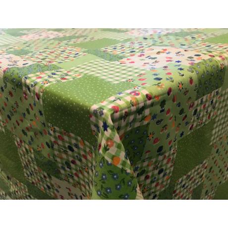 Asztalterítő nyomott mintával 120x120cm zöld patchwork