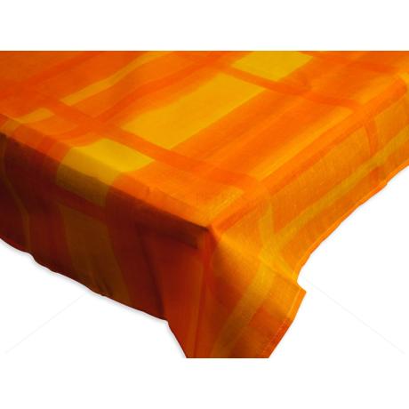 Asztalterítő nyomott mintával 140x140 cm narancs rácsos