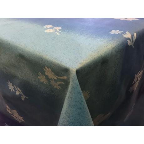 Asztalterítő nyomott mintával 140x140 cm kék virágos