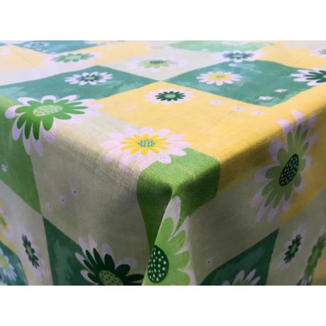 Asztalterítő nyomott mintával 140x140 cm zöld virágos