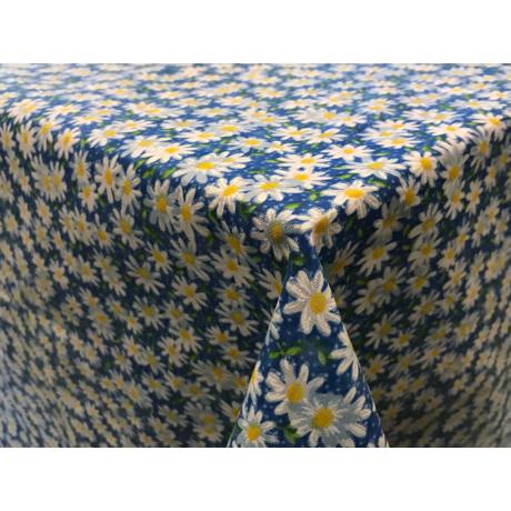Asztalterítő nyomott mintával 140x180 cm margarétás kék
