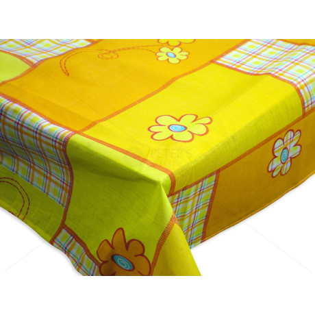 Asztalterítő nyomott mintával 140x180 cm margarétás patchwork