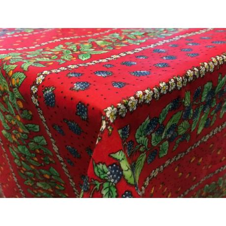 Asztalterítő nyomott mintával 140x200 cm szedres csíkos piros