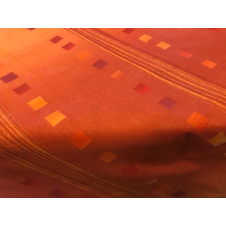 Asztalterítő napron nyomott mintával 70x70cm narancs kockás csíkos