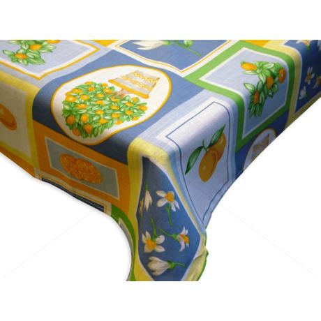 Asztalterítő napron nyomott mintával 70x70cm kék narancsbokros