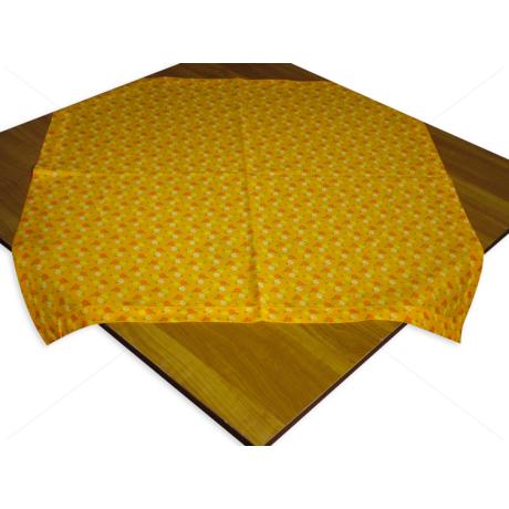 Asztalterítő napron nyomott mintával 70x70cm narancs apró virágos